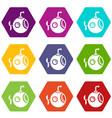 round bathyscaphe icons set 9 vector image vector image