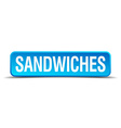 sandwiches blue 3d realistic square isolated vector image