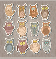 set of cute stickers with cartoon owls vector image vector image