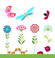 set of flowers dragonfly ladybug butterfly caterpi vector image