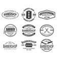 set of isolated logo or signs for barber shop vector image