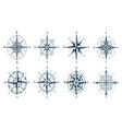 set wind rose compass direction arrows vector image