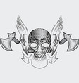 skull with axe tshirt design vector image vector image