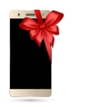 Smartphone with bow isolated vector image vector image