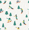 snowboarding seamless pattern winter sport vector image