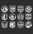tourism and travel symbols and signs isolated vector image