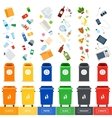 Trash cans with srted garbage vector image