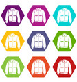 varsity jacket icons set 9 vector image vector image