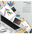 Workspace of the graphic designer Mock up for vector image