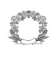 wreath circle frame from ribbon hops and ear vector image
