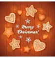 Christmas gingerbread stars and hearts greeting vector image