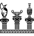 set of hellenic vases and ionic columns stencils vector image