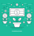 flat line fundraising and financial growth concept vector image