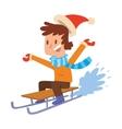 Christmas boy playing winter games vector image