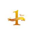 1 ribbon anniversary logo design template vector image