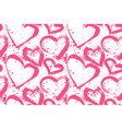 a seamless pattern of hearts painted in hands vector image vector image