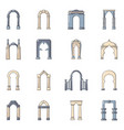 arch types icons set cartoon style vector image vector image
