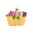 beautiful gift wicker basket with flowers gifts vector image