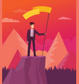 businessman holds flag stand on top mountain vector image vector image