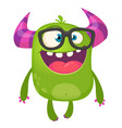 cartoon green monster nerd wearing glasses vector image vector image