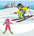 cartoon mother and child training skiing on vector image vector image