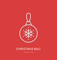 christmas ball new year decoration flat line icon vector image