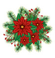 christmas floral decoration icon vector image