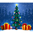 christmas tree with gifts on snow in winter fores vector image