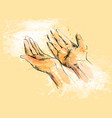 colored hand sketch begging hands vector image vector image