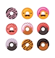Delicious donut icon set Sweet dessert Modern vector image