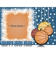 Frame Happy new yearand basketball vector image
