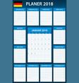 german planner blank for 2018 scheduler agenda or vector image vector image
