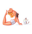 girl and cat do yoga vector image