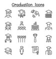 graduation and commencement icon set in thin line vector image