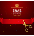Grand Opening design template with ribbon and vector image vector image