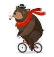 happy bear riding bike pleasure trip concept vector image