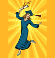happy woman college university graduate vector image