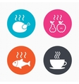 Hot food icons Grill chicken and fish symbols vector image vector image