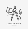 landscape design flat line icon thin sign vector image vector image