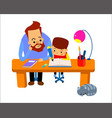 man helping young boy doing homework and smiling vector image vector image