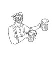 man waiter in national costume with mugs vector image