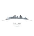 Miami Florida city skyline silhouette vector image vector image