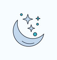 moon night star weather space flat icon green and vector image vector image