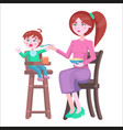 mother feeds baby who sits and cries on highchair vector image vector image