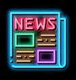 news newspaper neon glow icon vector image vector image
