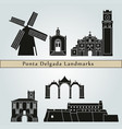 ponta delgada landmarks vector image vector image