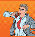 pop art man with coffee hurry up to office vector image vector image