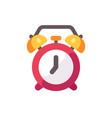red alarm clock flat icon vector image vector image