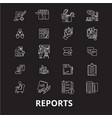 reports editable line icons set on black vector image vector image