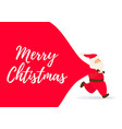 santa claus with big bag and merry christmas vector image vector image